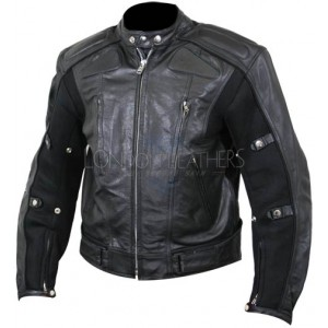 Defiant Men's Black Padded Biker Jacket with Mesh